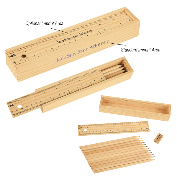 Colored Pencil Set In Wooden Ruler Box Mackellar